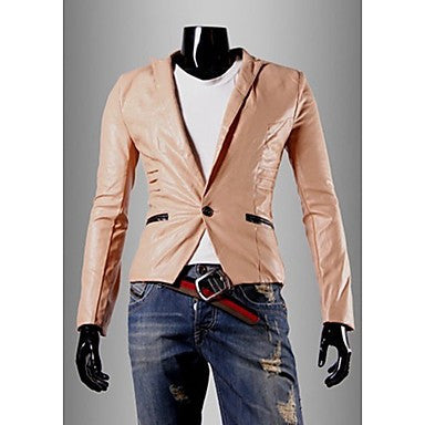 Men's Stylish Solid Color PU Coat