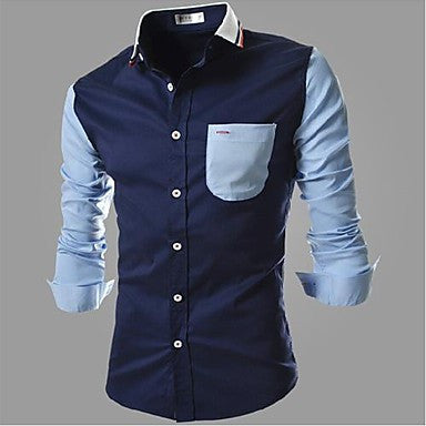 Men's long-sleeved shirt color bar
