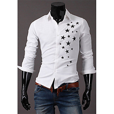 Men's Star Print Long Sleeve Shirt