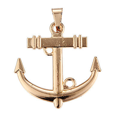 Exquisite High Quality Shining Golden Anchor Pendant(1 Piece)