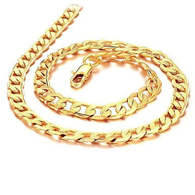 Cool Personality Twisted Piece of 18 K Gold Plating Man Necklace