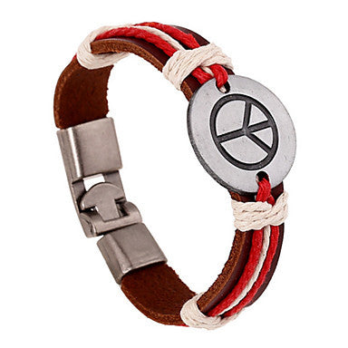 Fashion 20cm Men's Black,Brown Leather Leather Bracelet(Black,Brown)(1 Pc)
