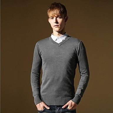 Men's New Slim Fit V-neck Casual Fashion Stylish Pure Color Thin Knitwear Sweater