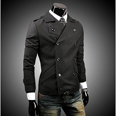 Men's Of High-Grade Cotton Double Breasted Badges Design Slim Jacket