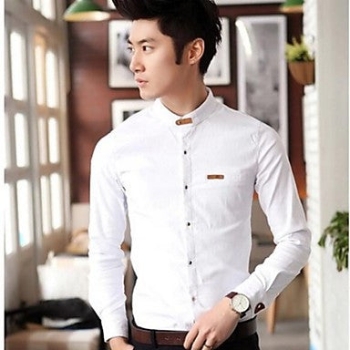 Men's Casual Slim Leather Buckle Shirt Collar