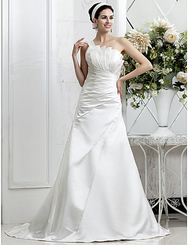 A-line One Shoulder Sweep/Brush Train Cascading Ruffles Satin Wedding Dress