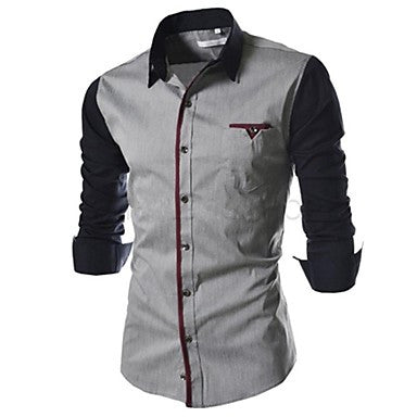 Men's Casual Contrast Color Long Sleeve Shirt