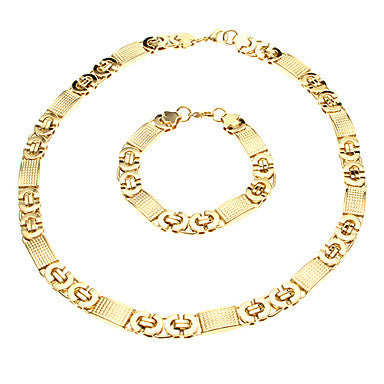 European Thick Golden Titanium Steel Chain Necklace (1 Pc)