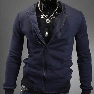 Men's Stand Collar Solid Color Long Sleeve Outwear