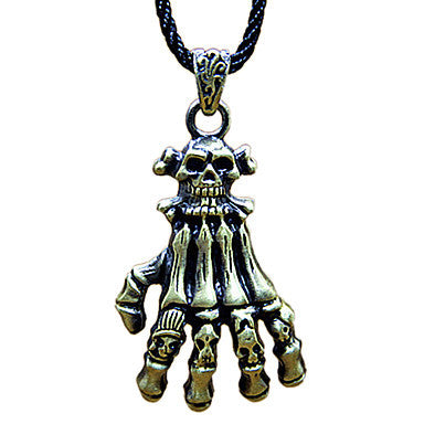 European (Skull And Claw) Black Fabric Pendant Necklace(Bronze,Silver) (1 Pc)
