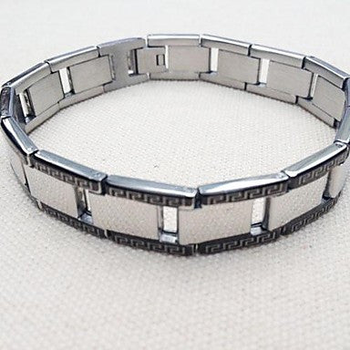 Fashion 6.8 Cm Men Silver + Black Titanium Steel Watches Tennis Bracelet