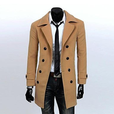Men's Lapel Long Slim Woolen Coat