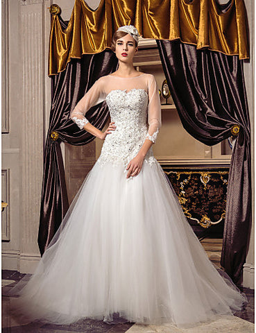 Fit and Flare Scoop Sweep/Brush Train Tulle Wedding Dress
