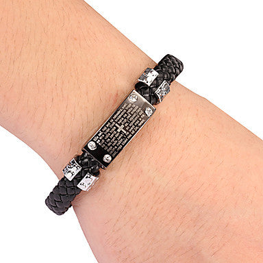 Punk Style Words Black Leather Bracelet(1 Pc) Leather Color Random