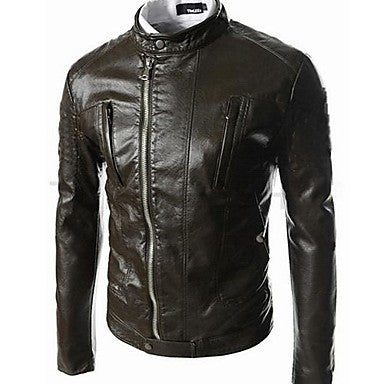 Men's Slim Fit Leather Stand Collar Jacket