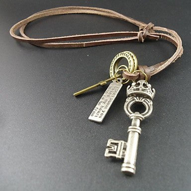 2015 Fashion Vintage Cross Crown Key Pendant Men Jewelry Long Genuine Leather Necklace