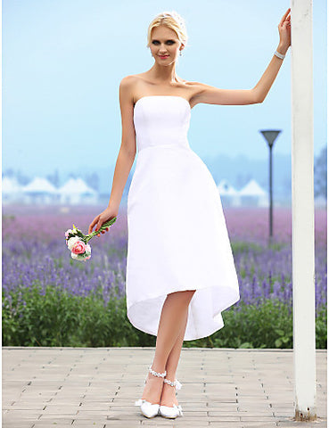 Wedding Dress A Line Asymmetrical Tea Length Taffeta Strapless Bridal Gown