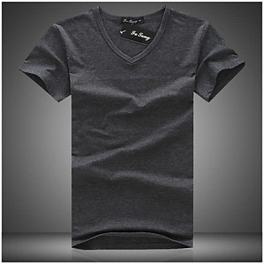 Men's V-Neck Cotton Solid Color Casual Slim Short Sleeve T-shirts