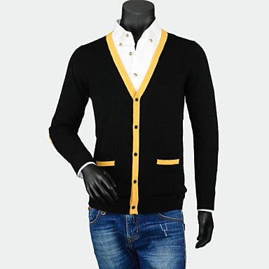 Men's V - Neck Fashion Traveling Long Sleeve Cardigans Contrast Color Slim Sweater
