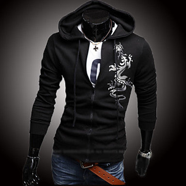 Men's Fashion Dragon Stamp Hooded Sweater Self-cultivation Coat