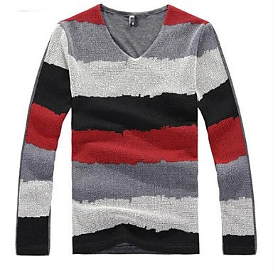 Men's Patched Grid Cloth Striped Tie Dye Long Sleeve T-shirt