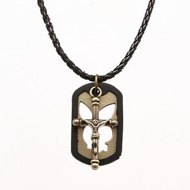 Punk Pierced Board (Jesus And Cross) Black Leather Pendant Necklace (1 Pc)