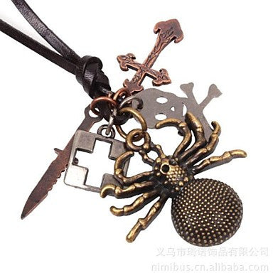 Men's Ancient Bronze Spider Leather Necklace