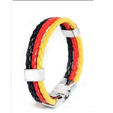 European Football Memorial 22cm Unisex Leather Bracelet(Red,Blue)(1 Pc)