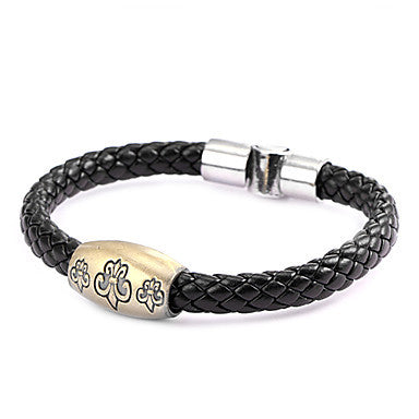 Punk Style Crowe Round Buckle Alloy Leather Bracelet(1 Pc)