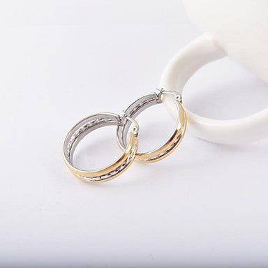 Fashion Men's Gold-silver Stainless Steel Hoop Earring