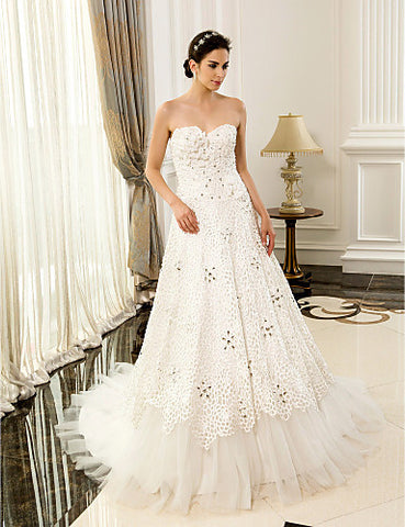 A-line Sweetheart Lace And Satin Court Train Wedding Dresses