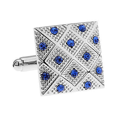 Men's Silver Rhinestone Plaid Cufflink(1 pair)