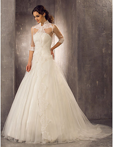 Wedding Dress A Line Sweep Brush Train Tulle Strapless Bridal Gown With Appliques
