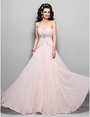 Chiffon Sheath/Column Strapless Sweep/Brush Train Evening/Prom Dress