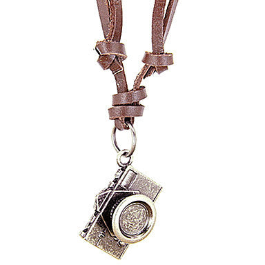 European (Camera) Brown Leather Pendant Necklace(Silver) (1 Pc)