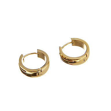 Classic Golden Two Lines Alloy Hoop Earring(1 Pair)