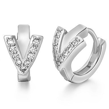 "Gifr for Boyfriend High Quality Silver Plated Letter ""V"" Men's Stud Earrings(1 pr)"