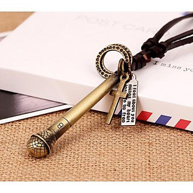 Lureme Vintage Style Leather Voice Tube Pendant Alloy Necklace