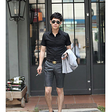 Men's Fashion Solid Color Short Sleeve Shirt