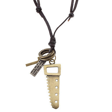 Unisex Saw Cross Leather Pendant Adjustable Necklace