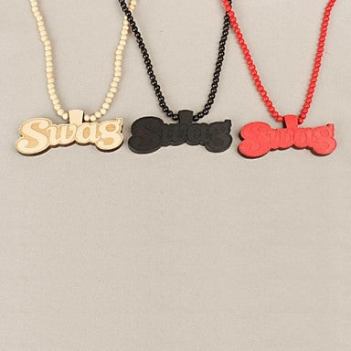 Word Swag Pattern Wood Necklace