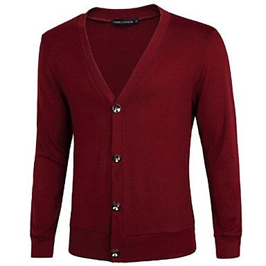 Men's Long Sleeve Slim Fit Casual Knitted Cardigan Sweaters