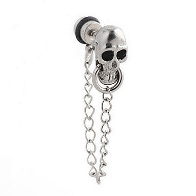Gothic Skull With Chain Silver Alloy Drop Earrings (1 Pair)