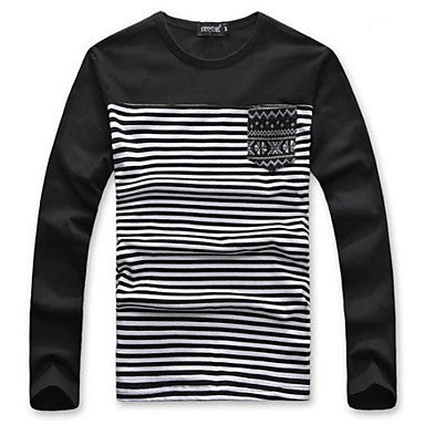 Men's Fashion Round Neck Long Sleeve Cotton T-shirt