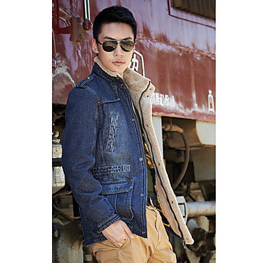 Men's Stand Collar Shoulder Board Stylished Coat