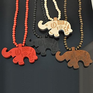 Elephant Pattern Wood Necklace