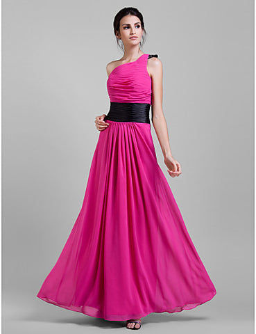 Bridesmaid Dress Floor Length Chiffon Sheath Column One Shoulder Party Dress
