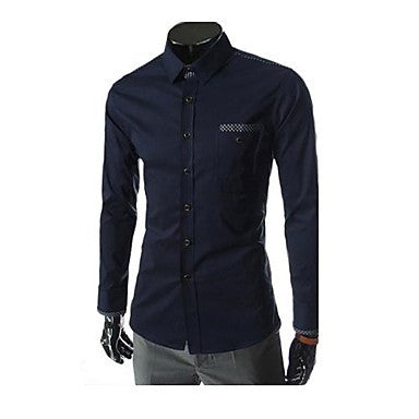 Men's Plaids Contrast Color Casual Long Sleeve Shirt