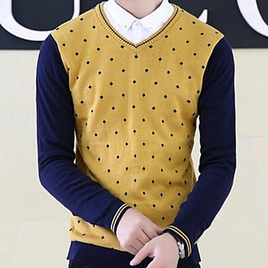 Men's V Collar Pullover Korean Slim Knitting Clothes