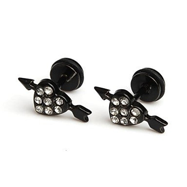 Fashion Hot Cystal Black Arrow Through A Heart Stainless Steel Stud Earrings